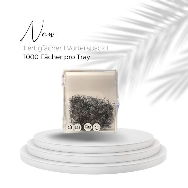 Prefanned Lashes Vorteilspack | 1000 Wimpern pro Tray | 8D | 0,05